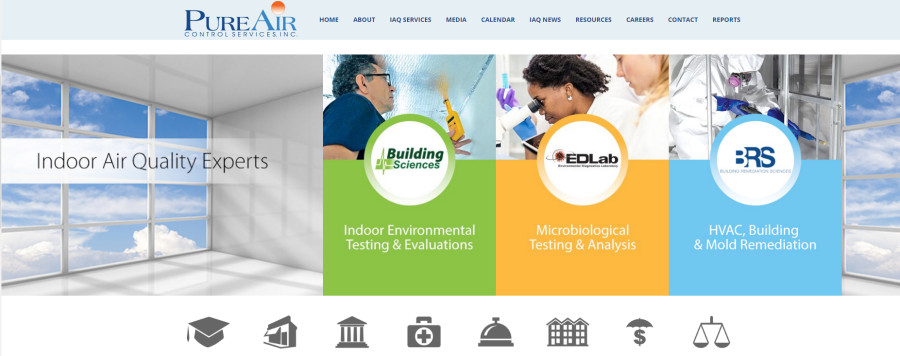 Pure Air Control Services website