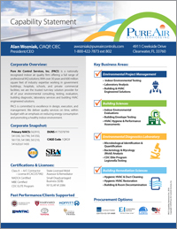 Pure Air Control Services Capability Statement